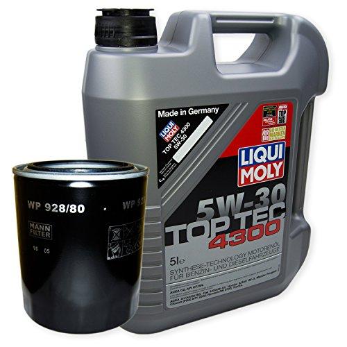 LIQUI MOLY Top Tec 4300 5W-30 3741 + MANN FILTER Ölfilter WP 928/80
