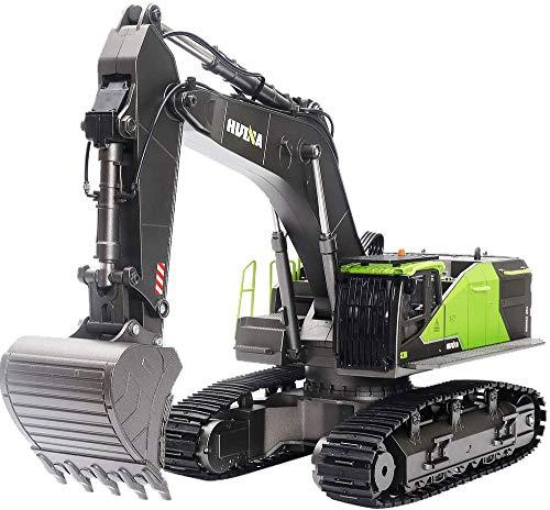 FFXZL 1:14 Escala RC Juguete Excavadora aleación ingeniería vehículo Modelo 22 Canales Juguete Hobby Grado 2,4 GHz 593 niño niña Regalo de cumpleaños