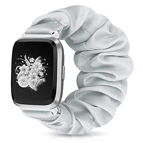 Runostrich Scrunchie Elastic Watch Band Women for Fitbit Versa/Versa 2/Versa Lite/SE, Floral Breathable Replacement Strap Scrunchy Wristband Bracelet Accessories (V Silver, M)