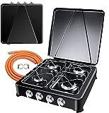 Estufa de gas portátil para camping 3 quemadores, estufa de propano, estufa de 59 x 32 x 9 cm, cocina de gas (negro, 50 x 50 x 14 cm)