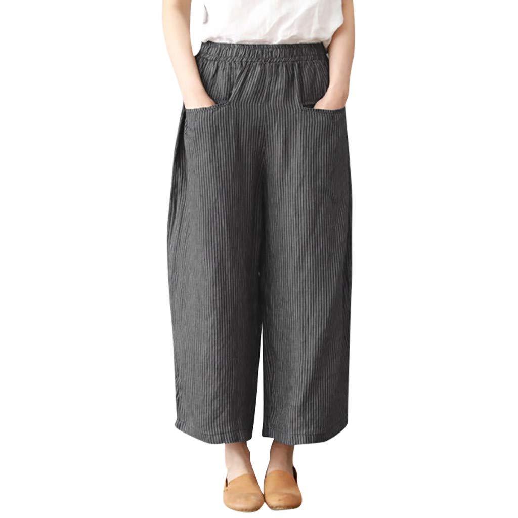 Pantalon Jambe Large Femme Taille Haute Poche Pantalon Grande Taille Tout Droit Coton de Lin Loose Mode Décontracté Pants Trousers