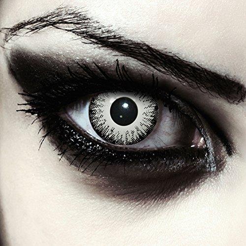 """Designlenses, Dos lentillas de color blanco y negro para Halloween zombie disfraz lentillas sin dioprtías/corregir + gratis caso de lente """"White Fear"""""""