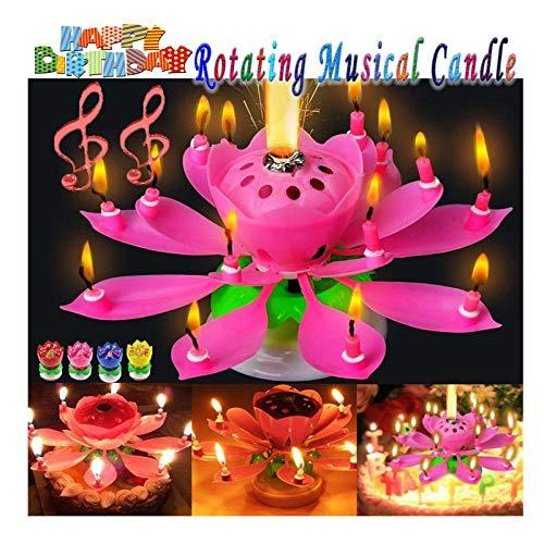 ADXOLE - Candela rotante a forma di loto per torta di compleanno, con fiori musicali, con musica musicale e magia, per compleanno musicale, candela di loto rotante (colore rosa-14)