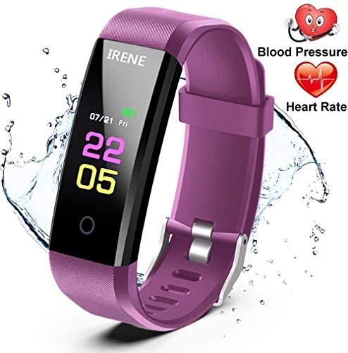 IRENE Fitness Tracker,Smartwatch Wasserdicht Fitness Armband mit Pulsmesser Farbbildschirm Aktivitätstracker Pulsuhren Schrittzähler Uhr Smart Watch Fitness Uhr für Damen Herren Kinder iOS Android