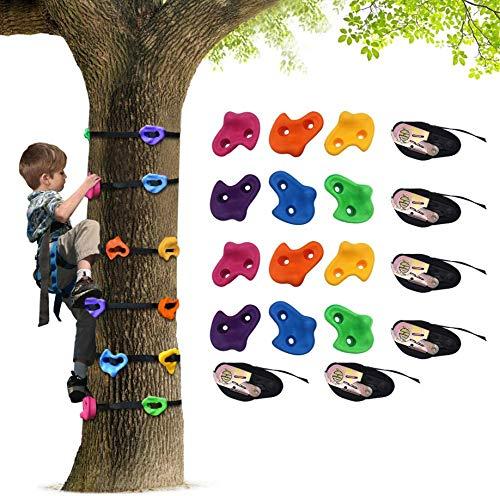 XIAPIA Parete Arrampicata Bambini 18 Pezzi Esterno Kit Arrampicata per Bambini Giochi da Esterno da Giardino Palestra 5 Anni Bambino e Bambina