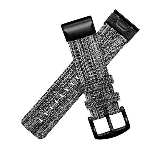 YOOSIDE Fenix 5X / Fenix 6X Nylon Pulsera, QuickFit 26 mm Tejida Quick Drying Band Band Band Band pulseras para Garmin Fenix 5X Plus,Fenix 6X Pro/Sapphire/Solar,Fenix 3,Tactix Delta (Gris)