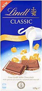 LINDT & SPRUNGLI Classic Milk Chocolate Caramel Sea Salt, Block for Everyday Enjoyment When You Need a Little Moment of In...