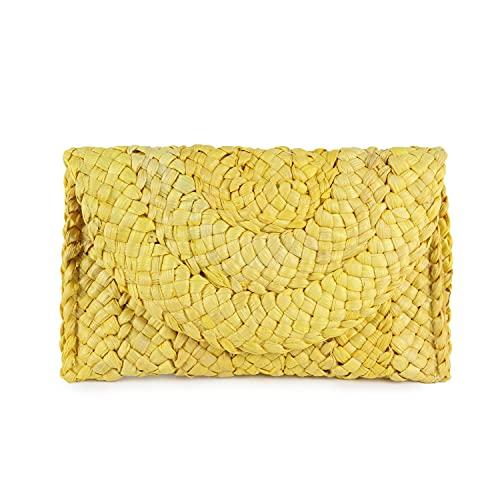 Syrads Bolso de mano de paja de noche para mujer Bolso de playa de verano Bolso de sobre tejido de paja,Amarillo