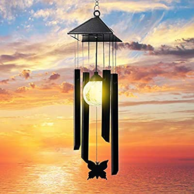 Wind Chimes - Solar Wind Chimes for Outside with LED Bulb 4 Tubes Beautiful Butterfly Deep Tone Sympathy Wind Chime Aluminum Alloy Material Decor for Garden Yard Patio (Black)