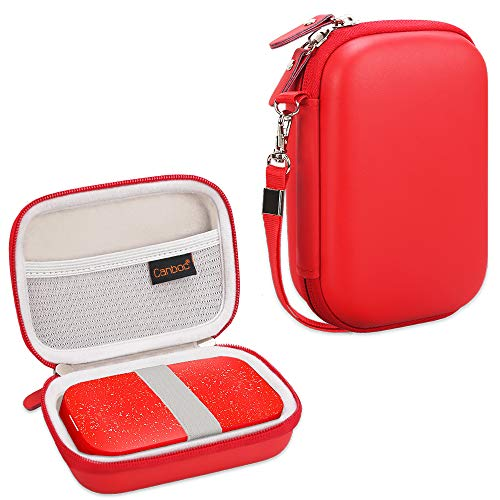 Canboc Carrying Case for HP Sprocket Portable Photo Printer and (2nd Edition), Polaroid Zip Mobile Printer, Lifeprint 2x3 Photo and Video Printer, Mesh Pocket fit Photo Paper and Cable, Red