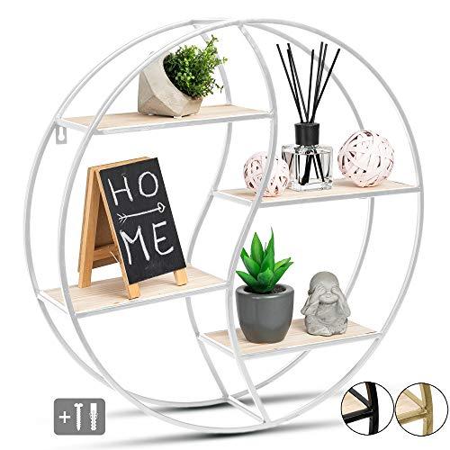JustComfy - Estantería de pared redonda (55 x 13 cm, marco de metal blanco con madera auténtica, ideal como decoración de pared o especias)