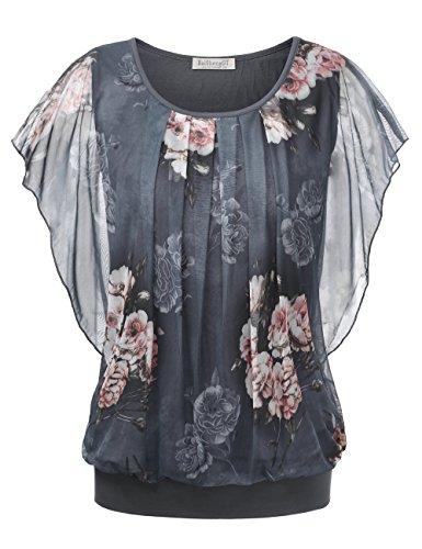 BAISHENGGT Damen Falten Kurzarm Tunika Batwing Rundkragen Bluse Grau-Blumen X-Large