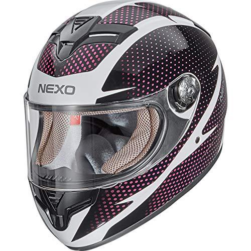 Nexo Integralhelm Motorradhelm Helm Motorrad Mopedhelm City Damen, herausnehmbare Lady Fit Komfortpolster, Belüftungssystem, klares Visier, Ratschenverschluss, Brillenträger-geeignet, XS-M