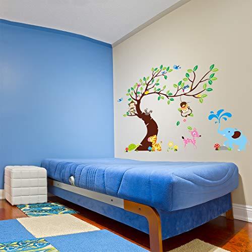 Giant stickers voor kinderen – boom, apen en olifant