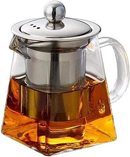 AWJ Cocina Olla Cuadrada Tetera de Vidrio Filtro de Acero Inoxidable Tetera perfumada Resistente al Calor Tetera Juego de té Espesado Resistente al Calor
