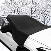 """Car Windshield Snow Cover, 95"""" x 67"""" 190T Material Waterproof No Scratches Snow Cover for All Season Protection, Waterproof Double Side Design Sun Shade Windshield Winter Cover Fits for Most Cars"""