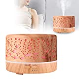 AMONIDA Nebbia per diffusore d'Aria a Luce Notturna a LED a Grana di Legno Chiaro, umidificatore per aromaterapia(110~240V, European Standard)