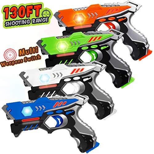 HISTOYE Laser Tag Guns Set of 4 Infrared Laser Tag for Kids 4 Player Pack Battle Mega Indoor Outdoor Lazer Tag Blaster Best Gift Gun Toys for 4 5 6 7 8 9 10 11 12+ Year Old Boys Girls Teenager
