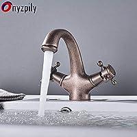 LIMEI-ZEN 立体水栓 万能水栓 アンティーク赤バスルームには、蛇口流域温水と冷水のミキサー蛇口バスタブハンドルFaucetDual
