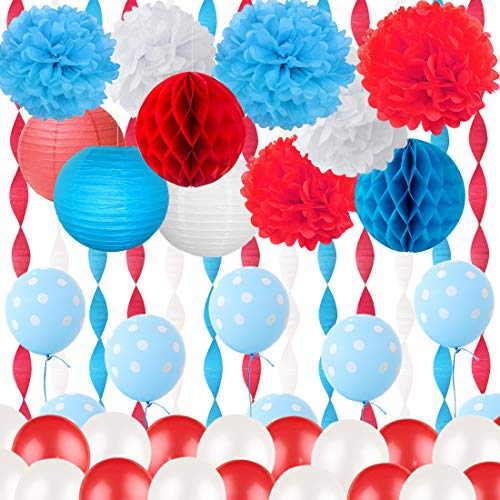 Dr Seuss Cat in the Hat Decoraciones para fiestas Rojo Papel de seda blanco Pom Poms Globos con lunares azules para Cat in the Hat Decoraciones de cumpleaños y baby shower