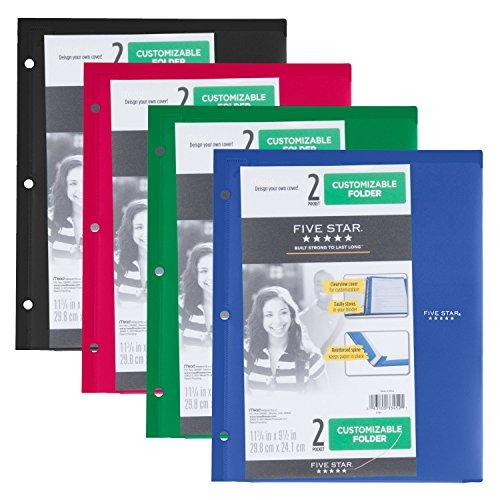 Five Star 2 Pocket Folder, Customizable Cover, Folder with Pockets, Fits 3 Ring Binder, Plastic, Black, Red, Green, Blue, 4 Pack (38098)