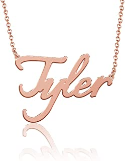 SOUFEEL Name Necklaces Pendant Personalized Necklace Custom Made Nameplate Gifts Copper Plated Silver, Rose Gold, 14K Gold...