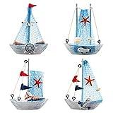 YIYA 4PCS Mini barca a vela modello decorazione nautica barca a vela decorazione per ufficio camera da letto decorazione desktop tema nautico decorazione della casa, Cielo Blu