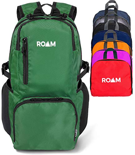 Roam Packable Backpack - Lightweight Foldable Daypack Water-Resistant, 25L, Durable Tear-Resistant Nylon Weave - Daypack for Travel, Hiking, Backpacking, Camping, Outdoors, Beach, (Pine)