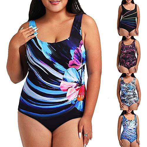 YLLQXI Bikini Sets, 2021 Tankini Schwimmkleid Mode Badeanzug Übergröße Beachwear Gepolsterte Bademode Urlaub Bikini Badekleid Große Größen Plus Size Bikini Set High Waist Push Up Bauchweg Bademode