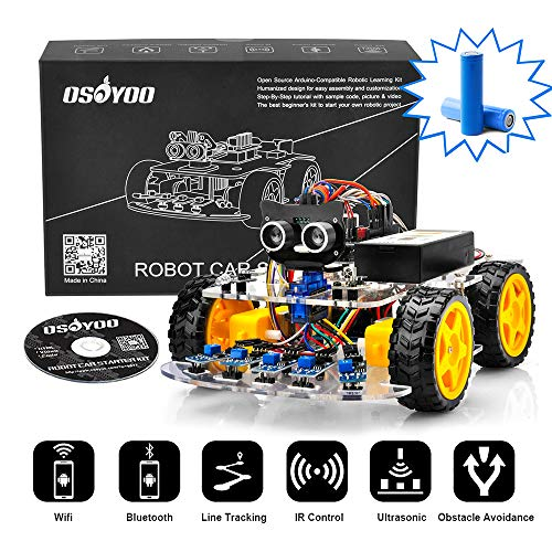 OSOYOO Robot Car Starter Kit for Arduino UNO R3 | STEM Remote Controlled Educational Motorized Robotics for Building Programming Learning How to Code | IOT Mechanical DIY Coding for Kids Teens Adults