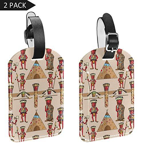 LORVIES Amerikaanse Indische Etnische Mannen Bijl Oude Print Bagage Tags Reizen Labels Tag Naam Kaarthouder voor Bagage Koffer Tas Rugzakken, 2 PCS
