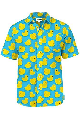 Men's Blue Rubber Ducky Hawaiian Shirt - Rubber Ducky Button Down Aloha Shirt