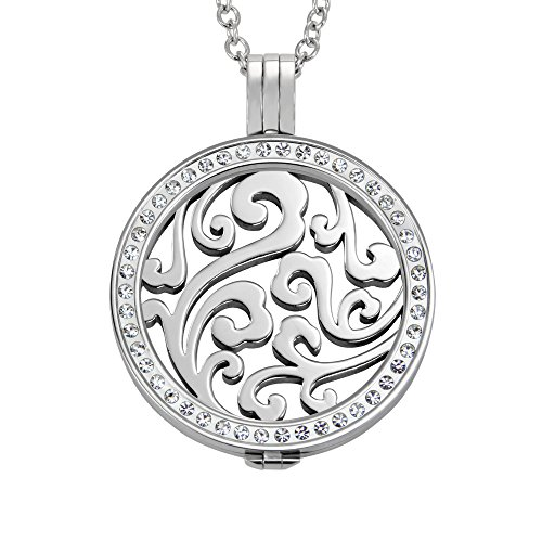 Quiges 90cm Halskette Set Silber Edelstahl mit Anhänger und 33mm Groß Natürliche Lockig Blume Cloud Coin