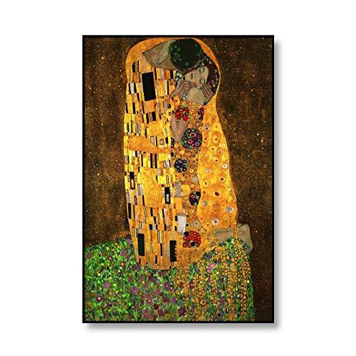 El artista clásico Gustav Klimt besa la realización de carteles de lienzo abstractos pinturas de lienzo sin marco de arte moderno A2 30x40cm