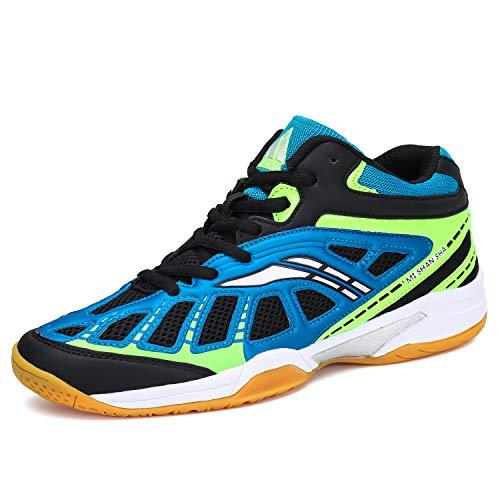 Mishansha Herren Badmintonschuhe Leichte Laufschuhe Sportschuhe Non-Slip Indoor Outdoorschuhe Freizeit Joggingschuhe Blau Gr.47