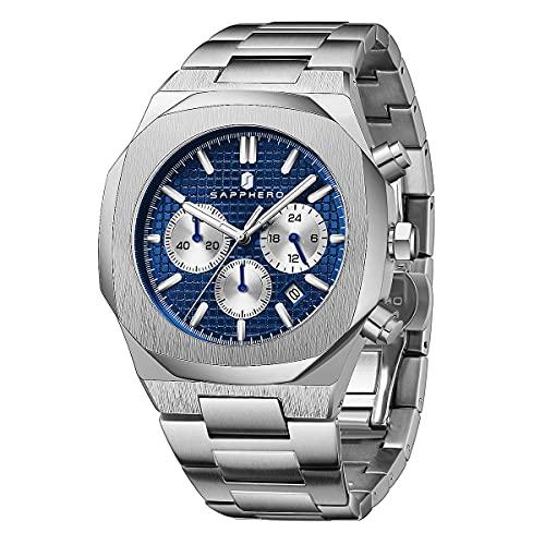 Reloj para Hombre SAPPHERO, Reloj de Acero para Hombre con Movimiento de Cuarzo Informal de Negocios Reloj de Acero 3ATM cronógrafo Resistente al Agua Lujo clásico