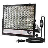 <グレードアップ>超薄型・超高輝度 LED投光器 100W 昼光色 10000LM 広い範囲照射可能 放熱性高い 耐久型 防塵防水レベルIP66同等以上 フラッドライト ガレージ・公園・工場適用 余裕の3mコード プラグ付き 利便性高い 一年保証付き(黒, 100W)
