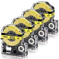 Econa テプラ テープ 12mm幅 SC12YW 黄地黒文字 4本入り キングジム PRO用 互換 テープ カートリッジ ラベルテープ