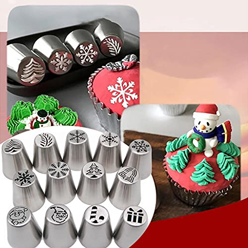 1Pcs Christmas Flower Frosting Tip , Russian Piping Tips, Cake Decorating SuppliesCake Decorating Tips Baking Supplies Icing Piping Tips for Baking Cupcake Birthday Party (F)