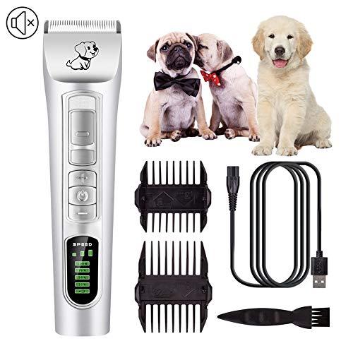 Silencioso para Mascotas Peque/ñas Medianas y Grande niyin204 Cortapelos Perros El/éctrica Set M/áquina Cortar Pelo Profesional Inal/ámbrico y Recargable