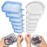 Fabsamb Tapas Silicona Ajustables Cocina Para Contenedores De Alimentos (12pcs) Tapaderas Elásticas Reutilizables Ecológicas, Tapa Para Tazas, Ollas