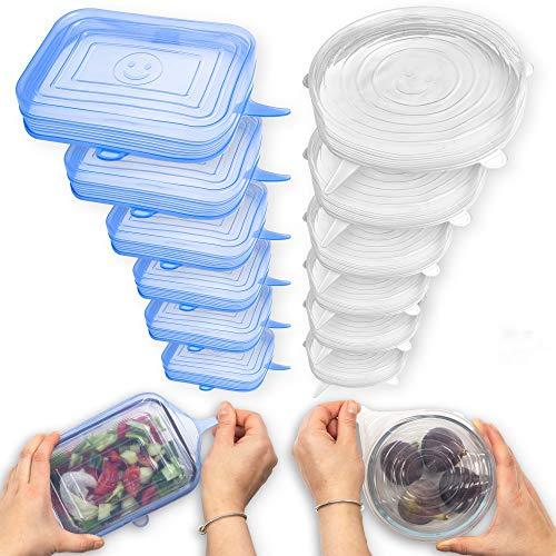 Fabsamb Tapas De Silicona Reutilizables Ecológicas Para Contenedores De Alimentos - 12 Tapas Silicona Ajustables Cocina, Reutilizables Para Tazas, Ollas, Sartenes - Hornos y Congeladores