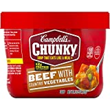 Campbell's Chunky Microwavable Soup, Beef with Country Vegetables Soup, 15.25 oz Bowl, Pac...