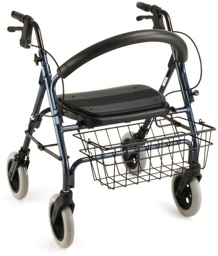 """NOVA Mini Mack Bariatric Rollator Walker, 400 lb Weight Capacity, Heavy Duty with Extra Wide Seat, 19.5"""" Seat Height, Blue"""