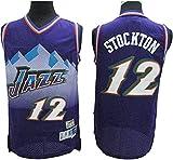 ATI-HSKJ Camisetas De Baloncesto De La NBA, John Stockton # 12 Jersey Cool Tela Transpirable Swingman Chaleco Sin Mangas Ropa Superior,L(175~180CM/75~85KG)