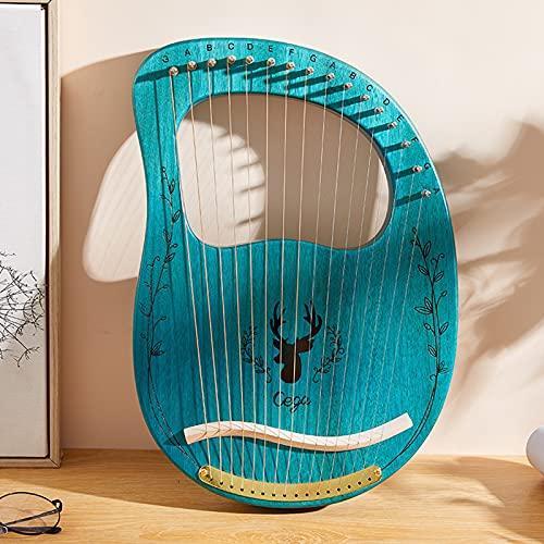 Tyfiner Lyre Harp, Arpa de Caoba de Madera Maciza con Bolsa de Transporte y Símbolos Fonéticos Tallados, para Principiantes Amantes de la Música,005,16 Strings