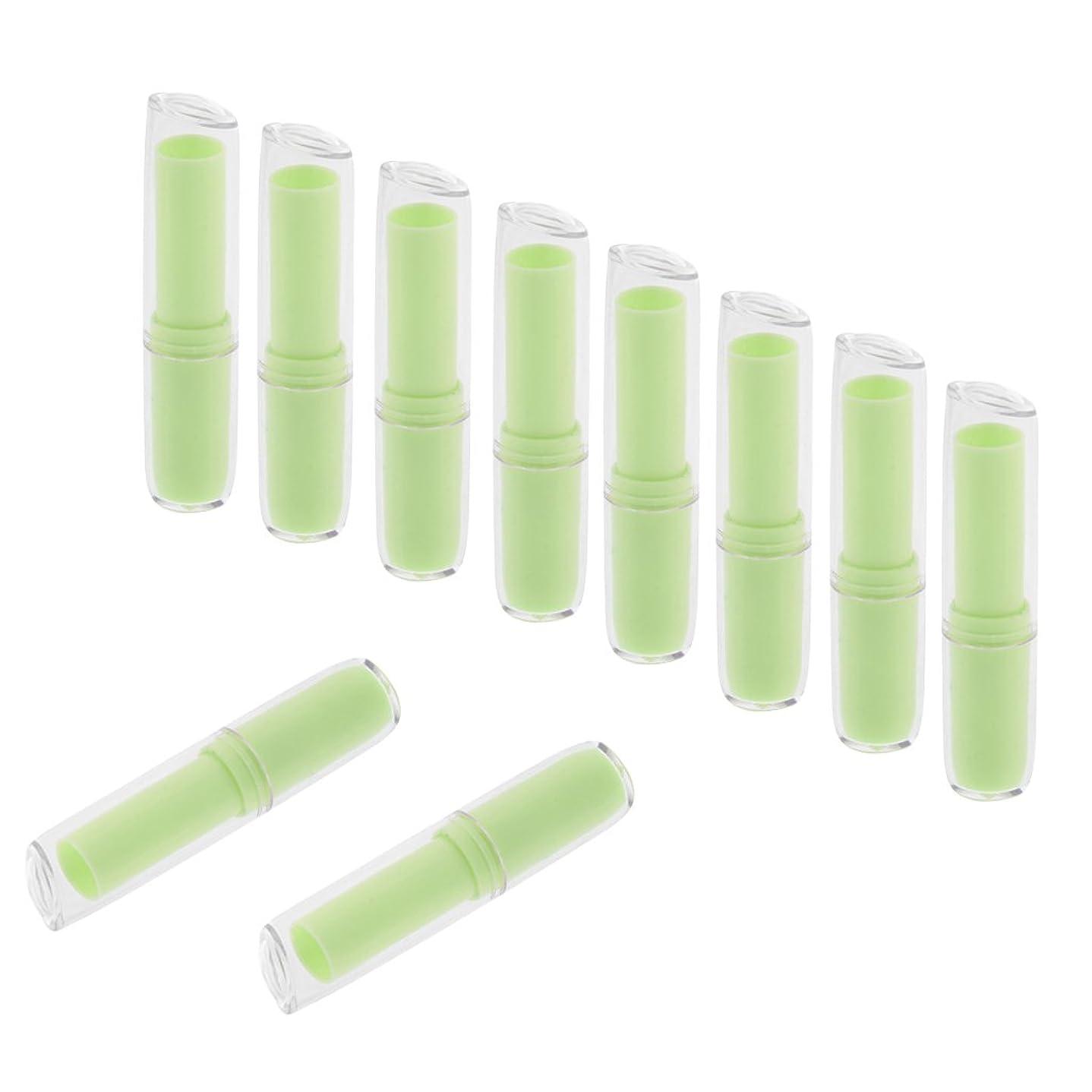 お母さん皮サポートPerfeclan 10個入 空チューブ リップスティックチューブ 12.1mm 金型 リップスティック リップバーム コンテナ DIY 化粧品 全6色  - 緑