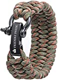 The Friendly Swede Trilobite Extra Beefy 550 lb Paracord Survival Bracelet with Stainless Steel Black Bow Shackle, Available in 3 Adjustable Sizes (Army Green Camo, fits 6'-7' Wrists)