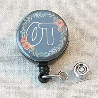 OT Badge Holder, Occupational Therapist Gifts, OT Therapist Student Graduation Gift, OT Thank You Gift for Therapist- Retractable ID Badge Reel With Swivel Pinch Clip, Occupational Therapy Month
