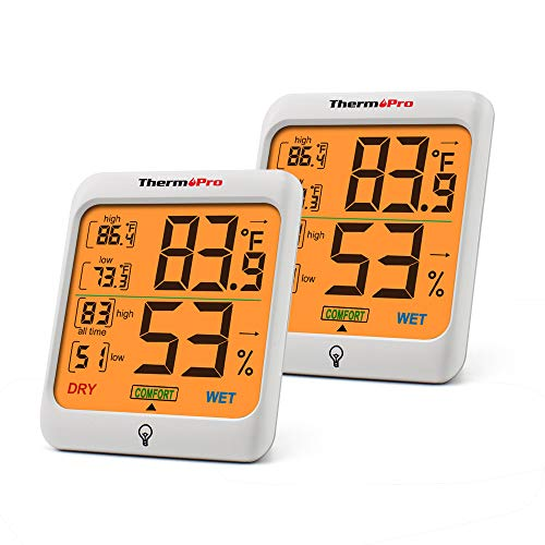 ThermoPro TP53 2 Pieces Hygrometer Humidity Gauge Indicator Digital Indoor Thermometer Room Temperature and Humidity Monitor with Touch Backlight